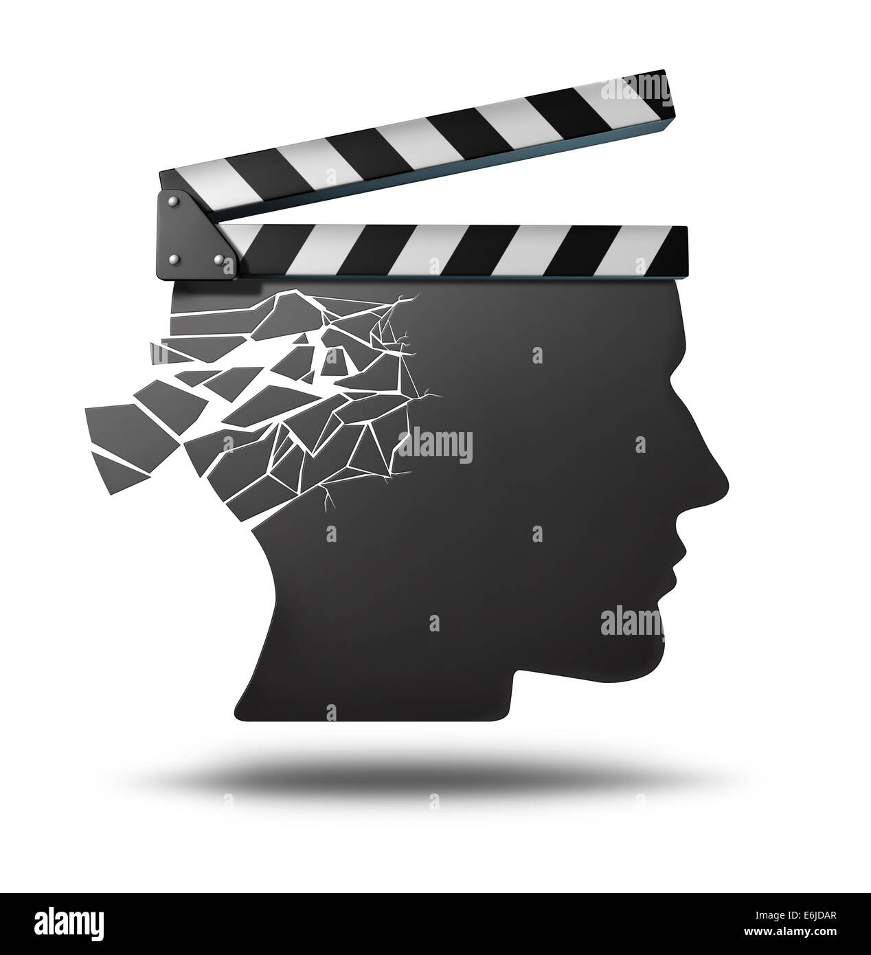 Dementia memory loss as a movie director clapboard shaped as a human head with cracks falling apart as a metaphor - Stock Image