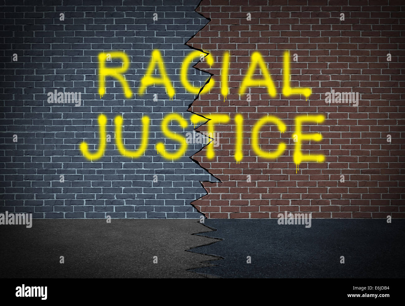 Racial justice and fighting discrimination concept and race relations social issue symbol as graffitti writing on - Stock Image