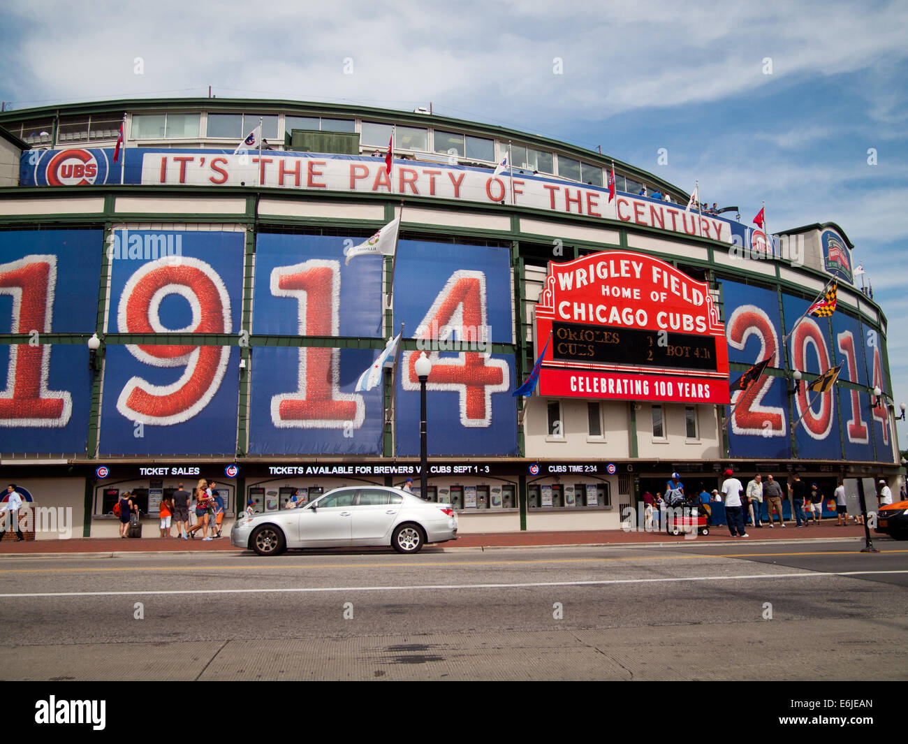 The famous Wrigley Field marquee and exterior of the baseball stadium in 2014, the 100th anniversary of the ballpark. - Stock Image