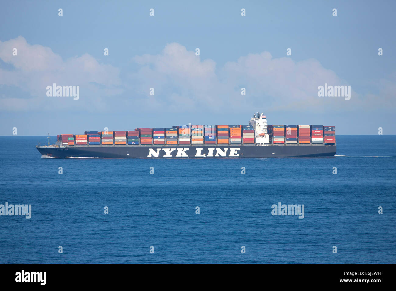 NYK Line Altair cargo container ship in Mediterranean sea - Stock Image