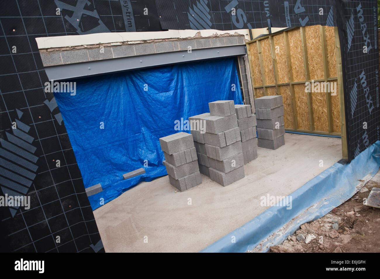 Timber frame walls erected for house extension Hay-on-Wye Powys Wales UK - Stock Image