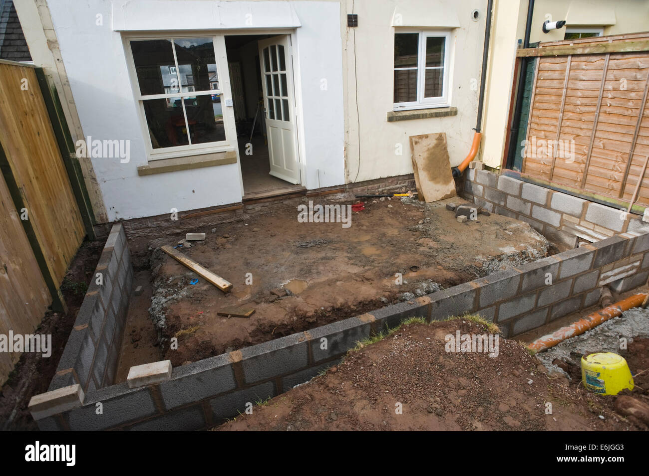 Foundation block walls laid for new house extension hay on for Foundations for homes