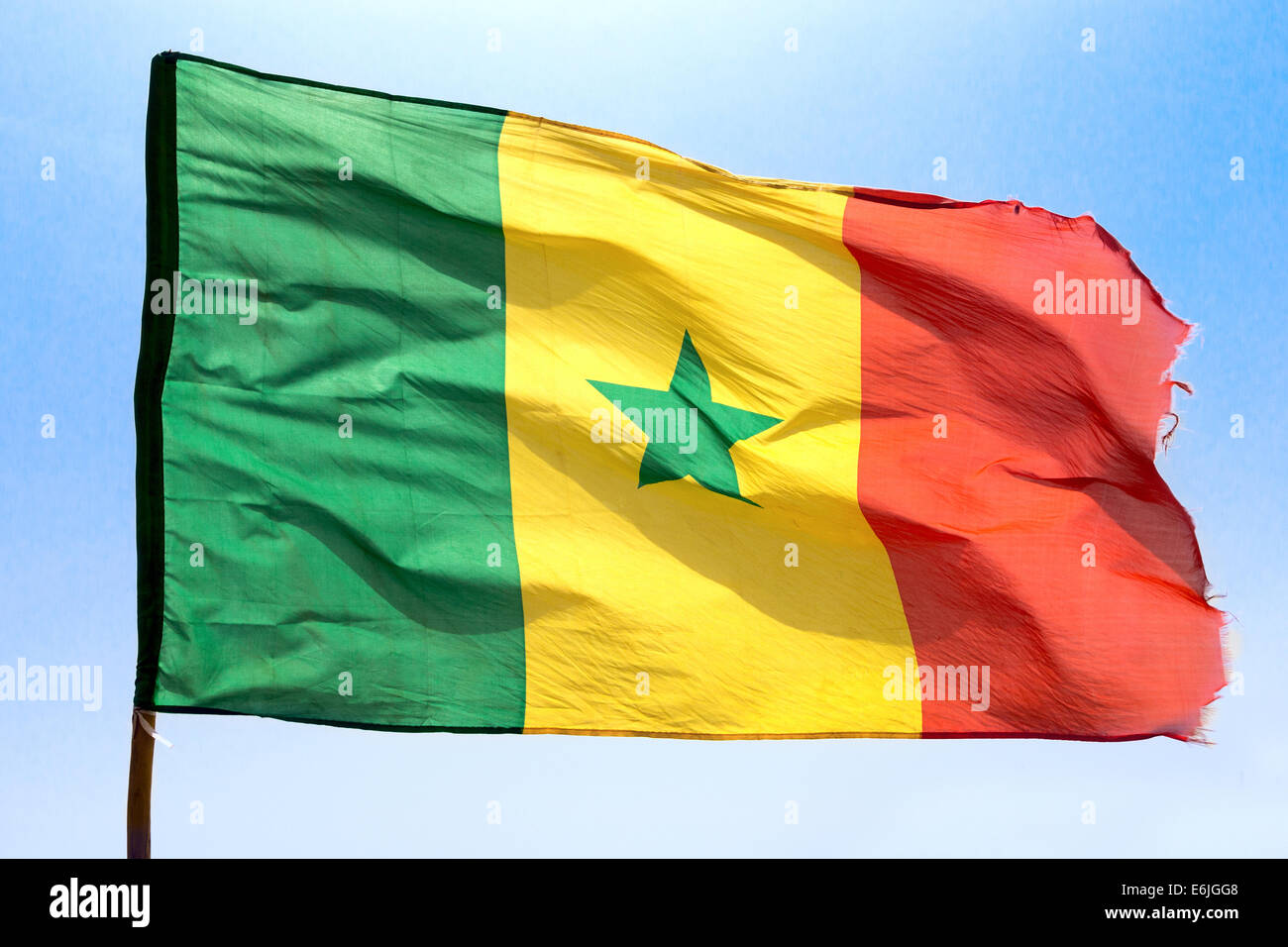 Senegalese flag at Lac Rose Senegal Stock Photo