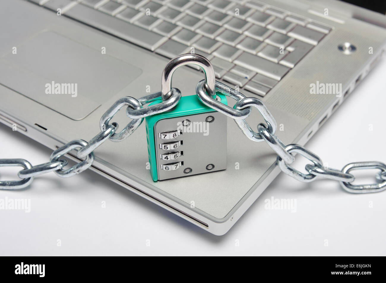 laptop safety against hacker intrusion - Stock Image