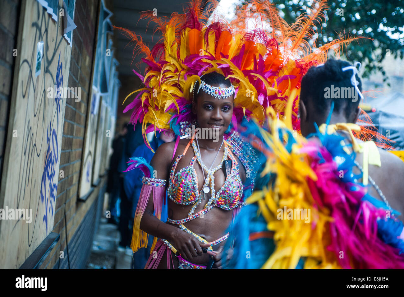 London, UK. 25th Aug, 2014. a reveller during the Notting Hill Carnival in London. Credit:  Piero Cruciatti/Alamy - Stock Image