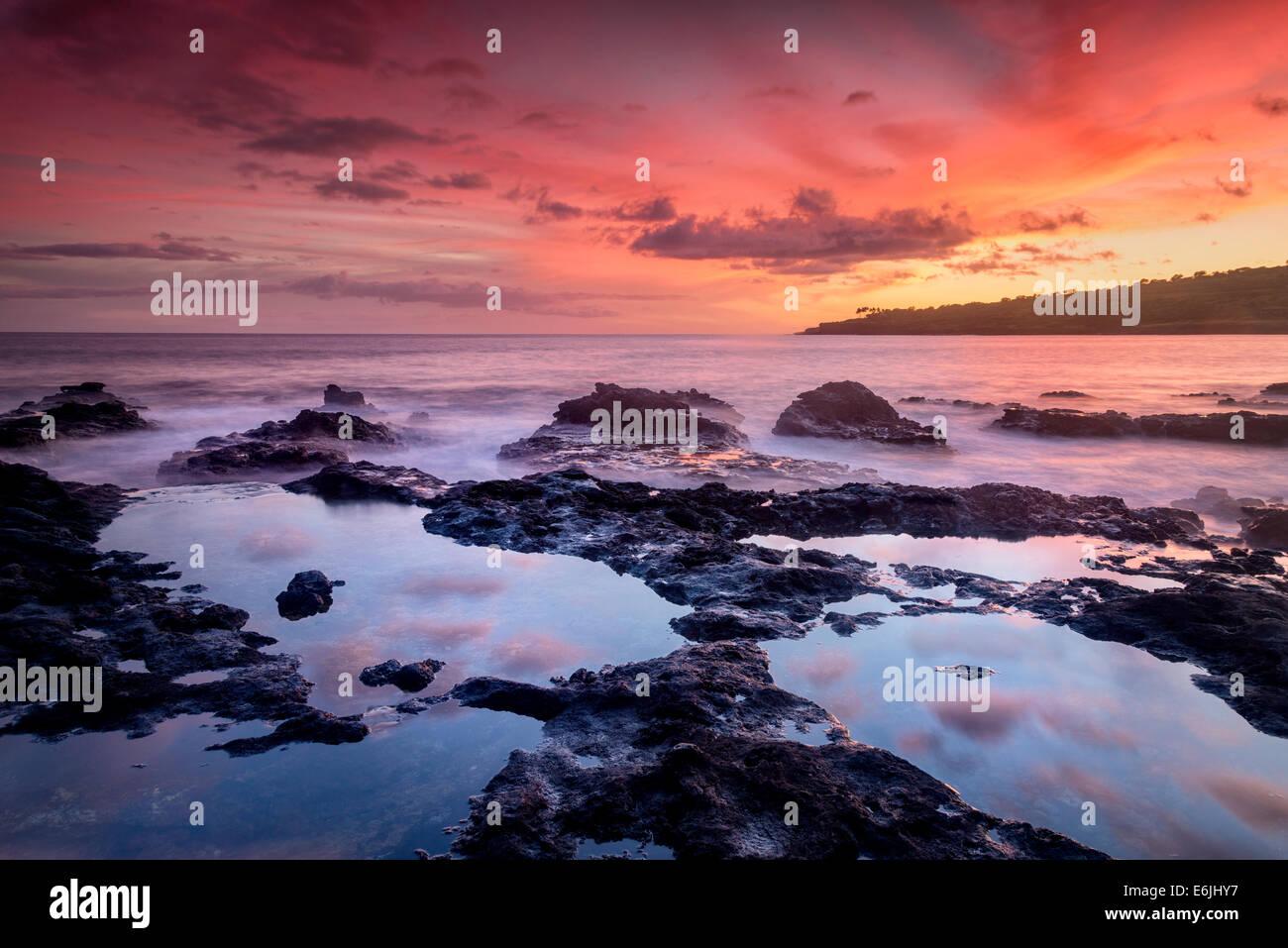 Sunset and tidepools. Lanai, Hawaii Stock Photo