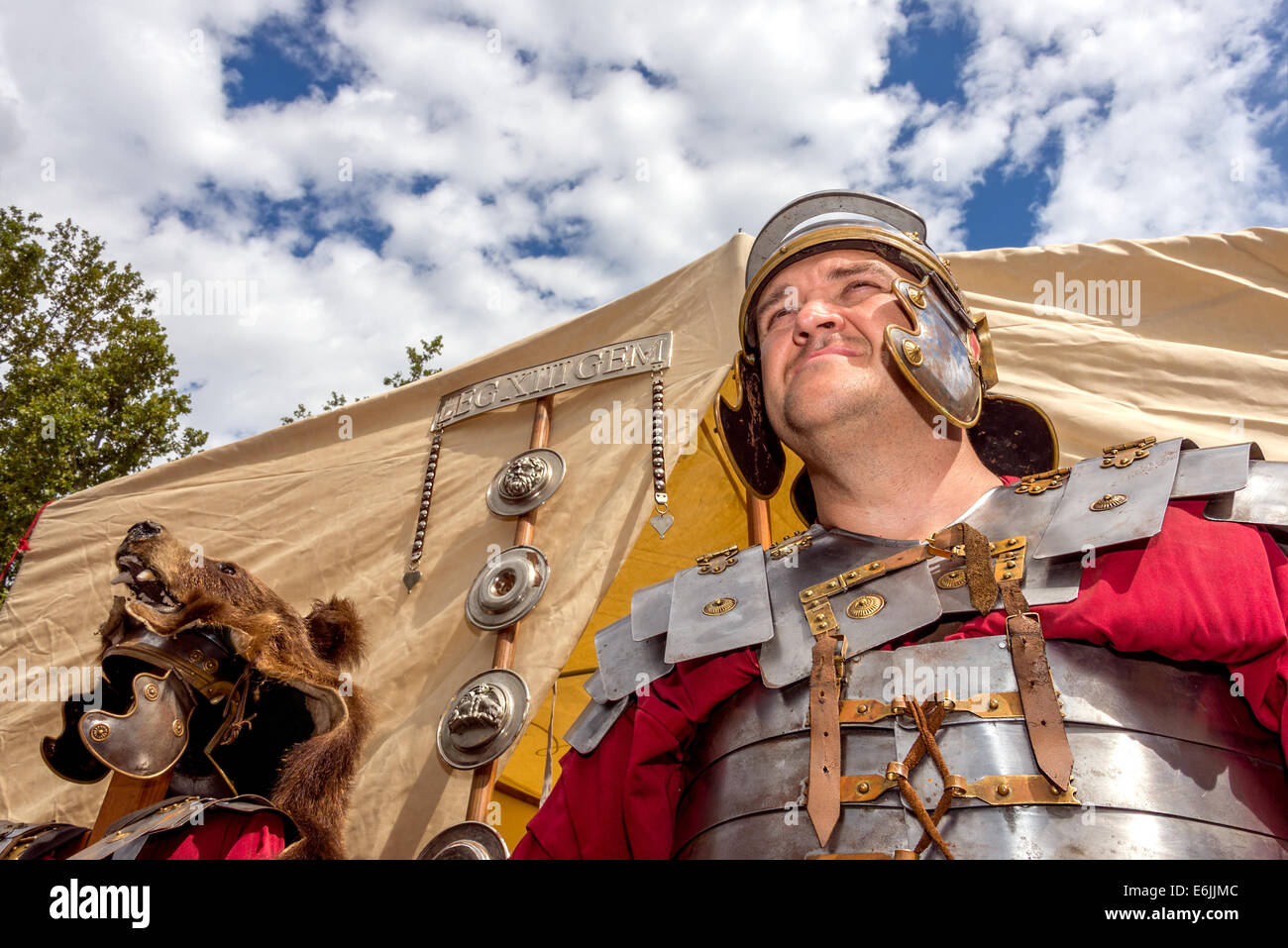 Roman soldier in Roman camp in traditional military dress - Stock Image