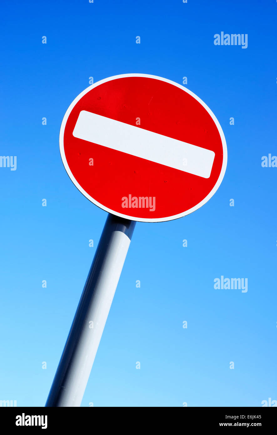 No Entry sign on a pole - Stock Image
