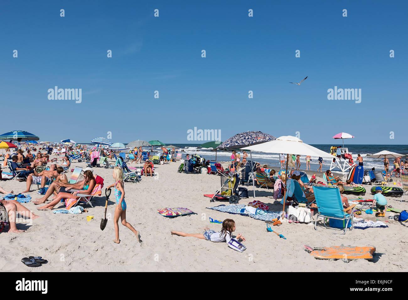 Busy beach, Stone Harbor, New Jersey, USA - Stock Image