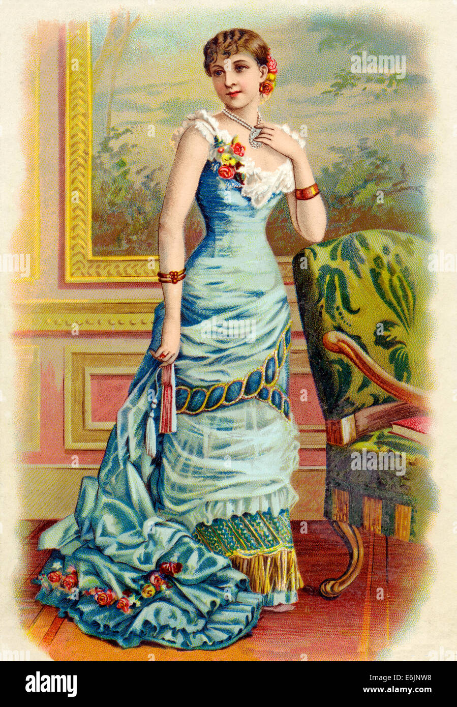Victorian Lady 1890s chromolithograph of a fashionable lady dressed up for an evening out in a fine gown - Stock Image