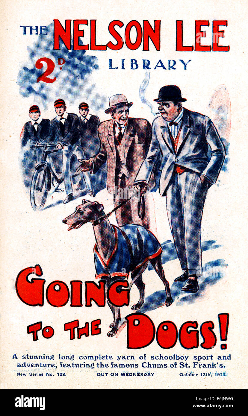 Going To The Dogs, 1920s comic book cover featuring a greyhound racing story - Stock Image
