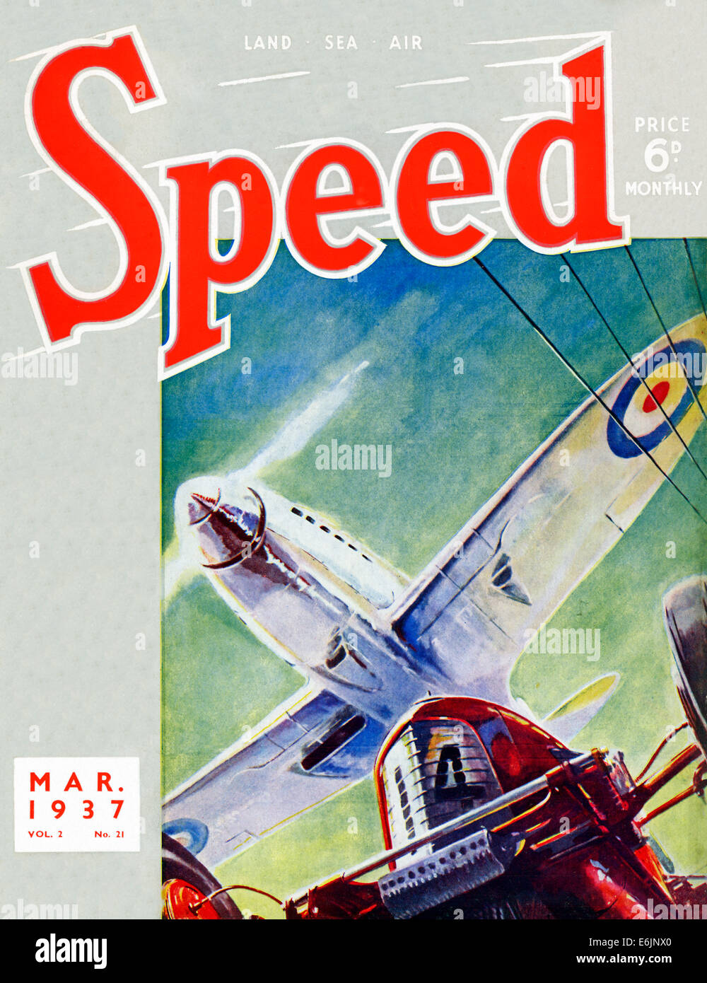 Speed, March 1937 cover of the English motor sports magazine with a Spitfire fighter flying over a racing car - Stock Image
