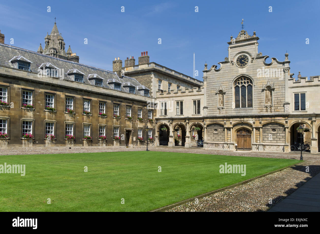 Exterior of Peterhouse College, Cambridge, UK; the oldest college of the University. - Stock Image