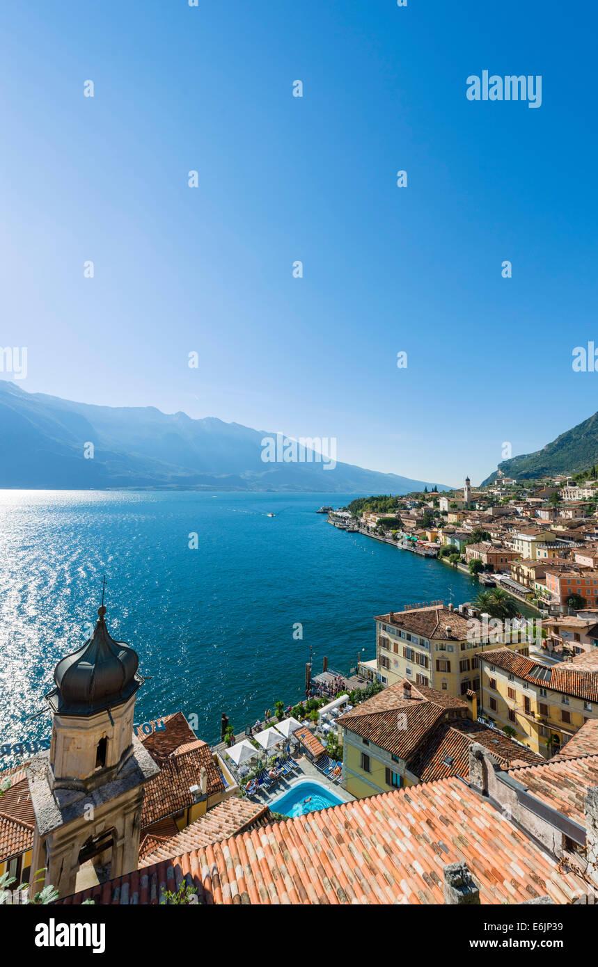 Lake Garda. View over the town and harbour in Limone sul Garda, Lake Garda, Lombardy, Italy - Stock Image