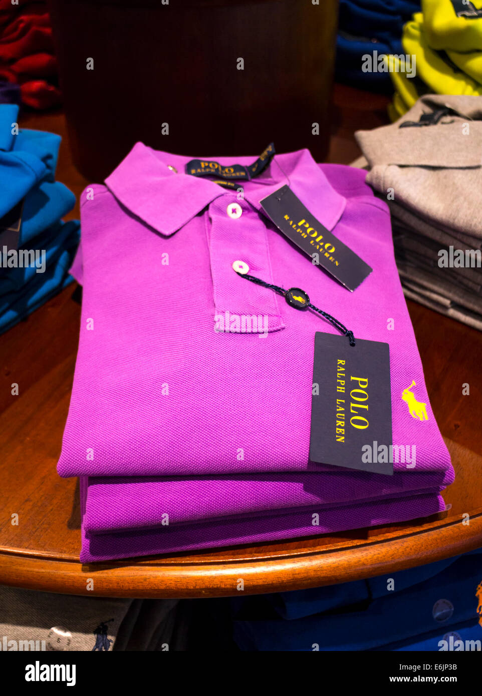 Ralph Lauren Polo Shirts on display - Stock Image