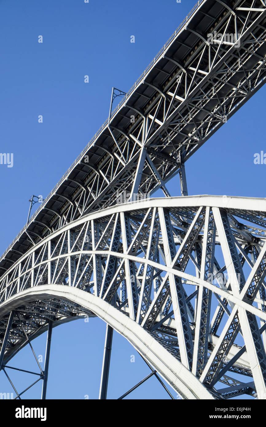 Detail of Ponte Luis I bridge Oporto Portugal - Stock Image