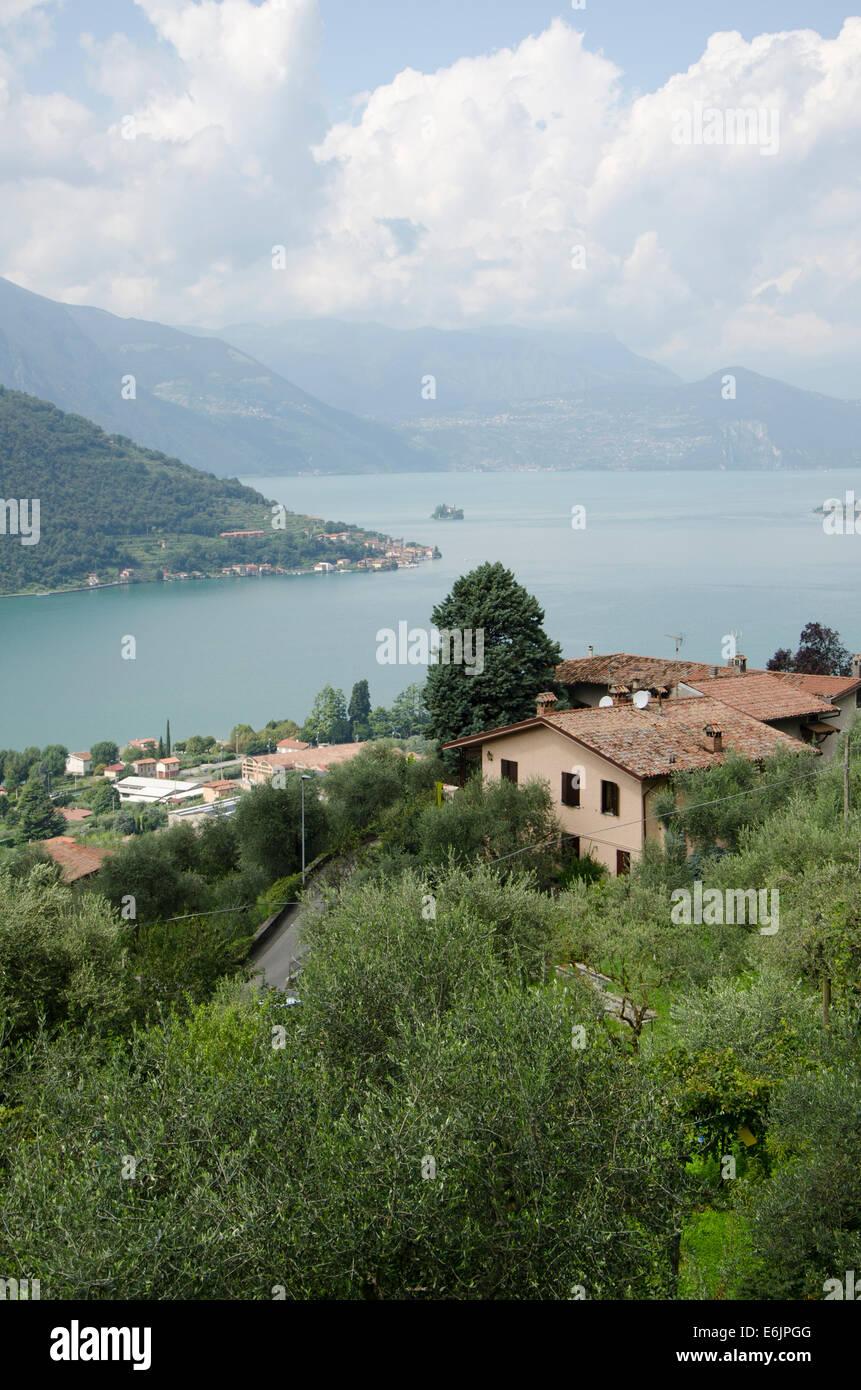 Lake Iseo or Lago d'Iseo or Sebino in Northern Italy. In the provinces of Bergamo and Brescia. Lombardy region. - Stock Image