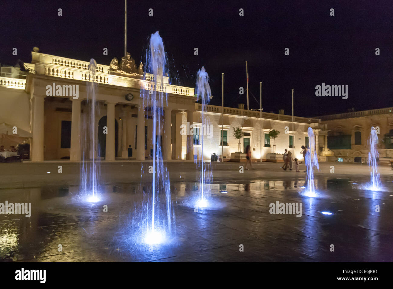 St George's Square, the main square of Valletta, the capital of Malta. It is also known as Palace Square - Stock Image