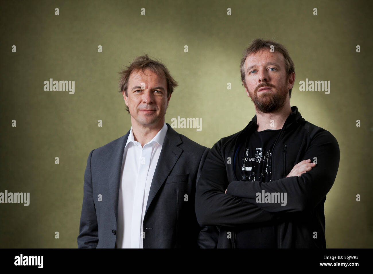 Edinburgh, Scotland, UK. 25th August, 2014. Gunnar (left) and Florian Dedio, co-authors of The Great War Diaries, - Stock Image