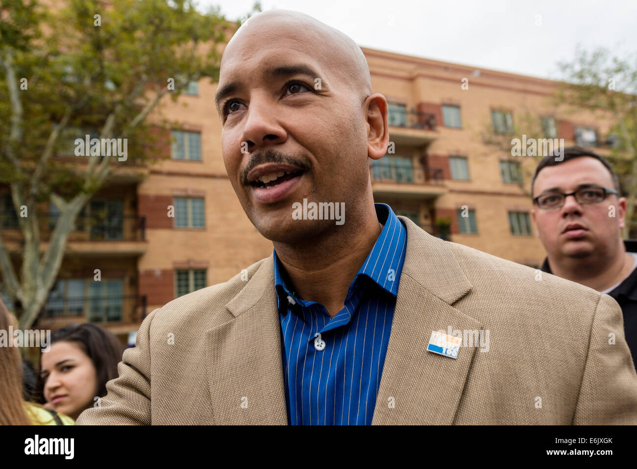 Staten Island, NY - 23 August 2014 - Bronx Borough President Ruben Diaz jr -march for Eric Garner ©Stacy Walsh - Stock Image