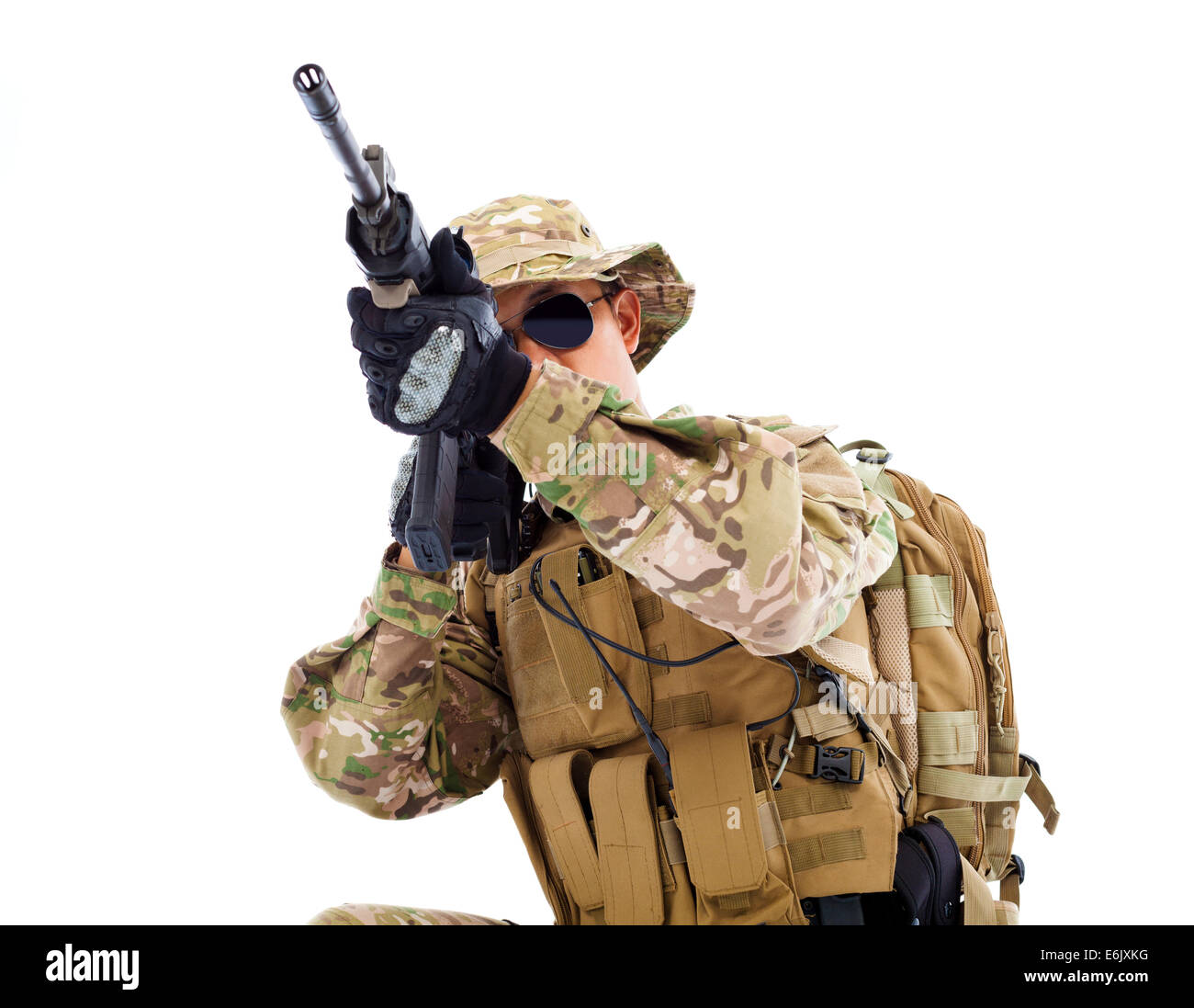 soldier with rifle or sniper ,isolated on white background - Stock Image