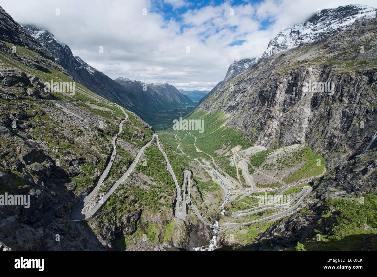 The winding Trollstigen National Tourist Route over the mountains in Norway - Stock Image