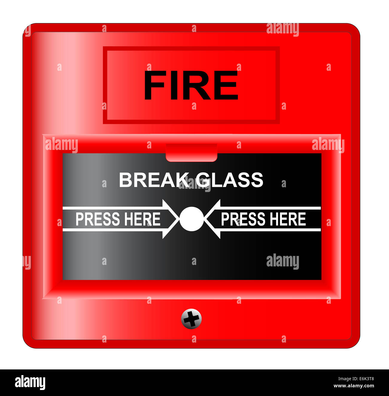 A 'break glass' fire alarm over a white background. - Stock Image