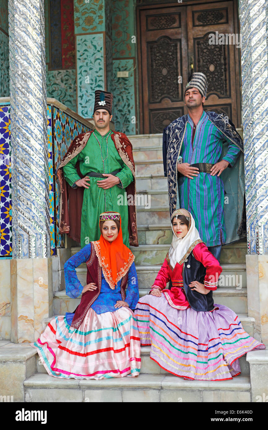 Wedding couples wearing traditional costume, Golestan Palace, UNESCO World Cultural Heritage Site, Tehran, Tehran - Stock Image