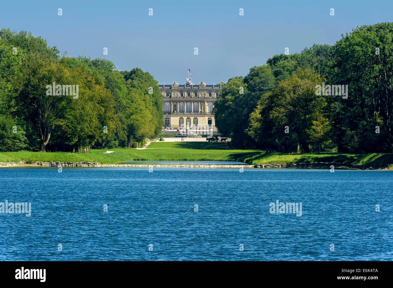 Herrenchiemsee New Palace, Schlosspark palace gardens, Herreninsel island, Chiemsee lake, Chiemgau, Upper Bavaria, - Stock Image