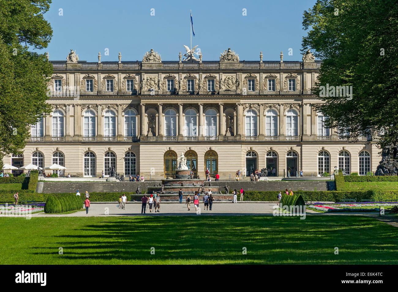 Herrenchiemsee New Palace, Schlosspark palace gardens, Herreninsel island, Chiemsee lake, Chiemgau, Upper Bavaria, Stock Photo
