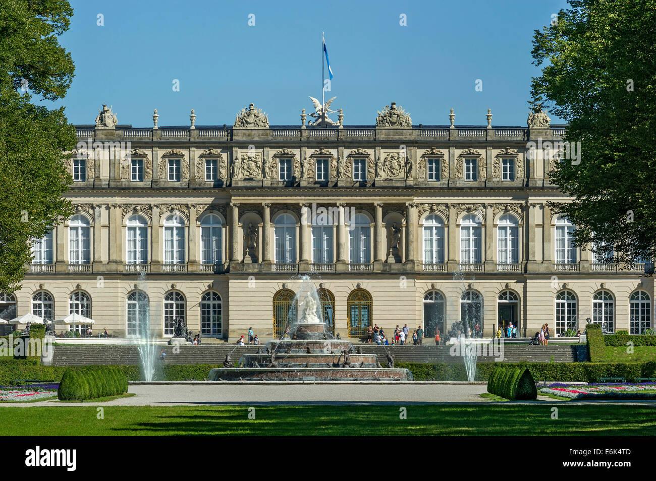 Herrenchiemsee New Palace, Fountain of Latona, Schlosspark palace gardens, Herreninsel island, Chiemsee lake, Chiemgau - Stock Image