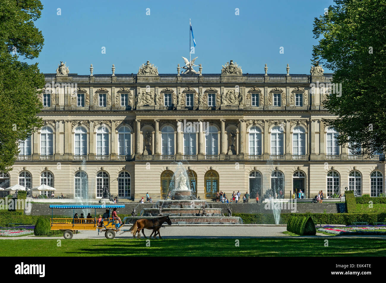 Herrenchiemsee New Palace, Fountain of Latona, Schlosspark palace gardens, Herreninsel island, Chiemsee lake, Chiemgau - Stock Image