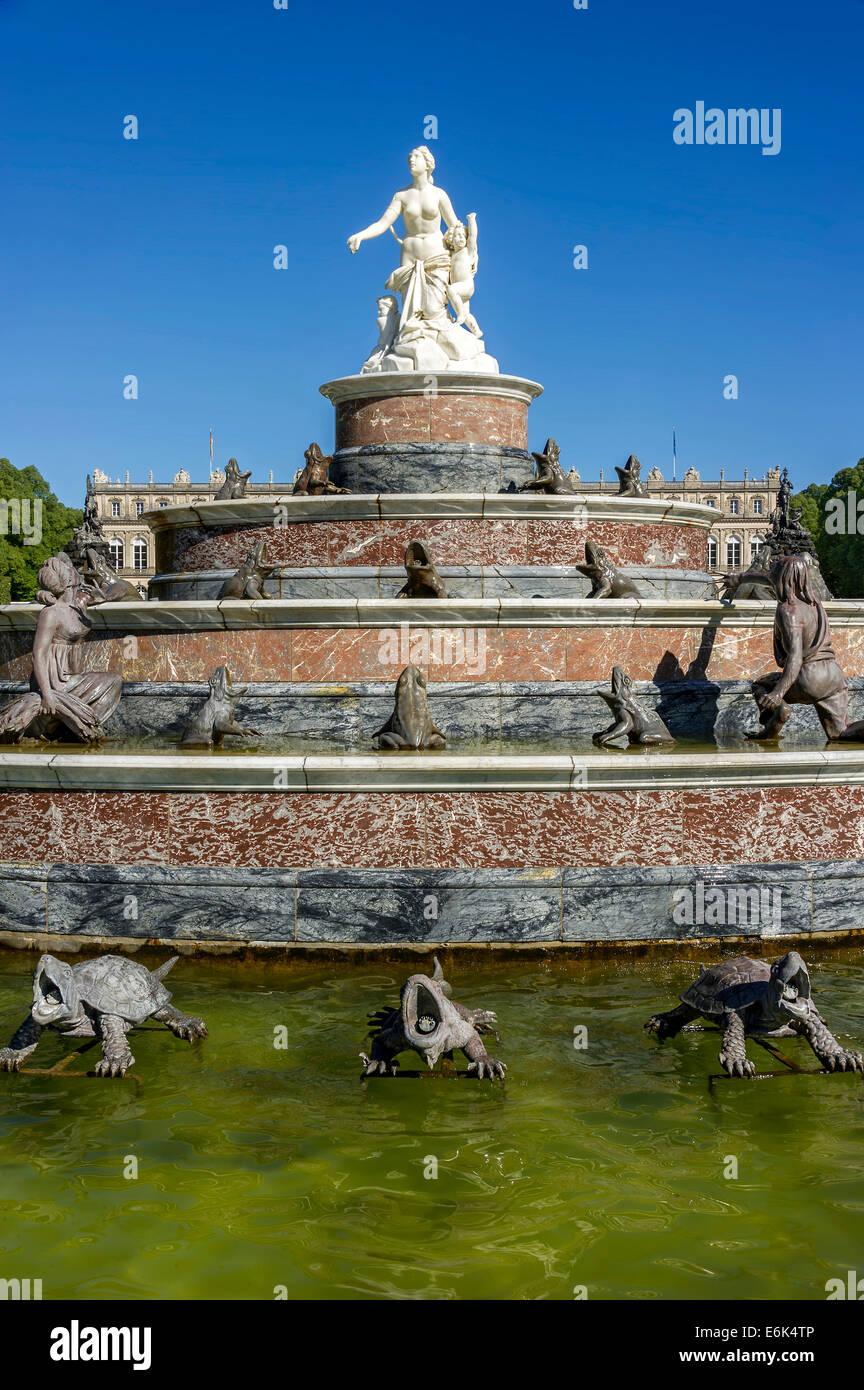 Fountain of Latona, Herrenchiemsee New Palace, Schlosspark palace gardens, Herreninsel island, Chiemsee lake, Chiemgau - Stock Image