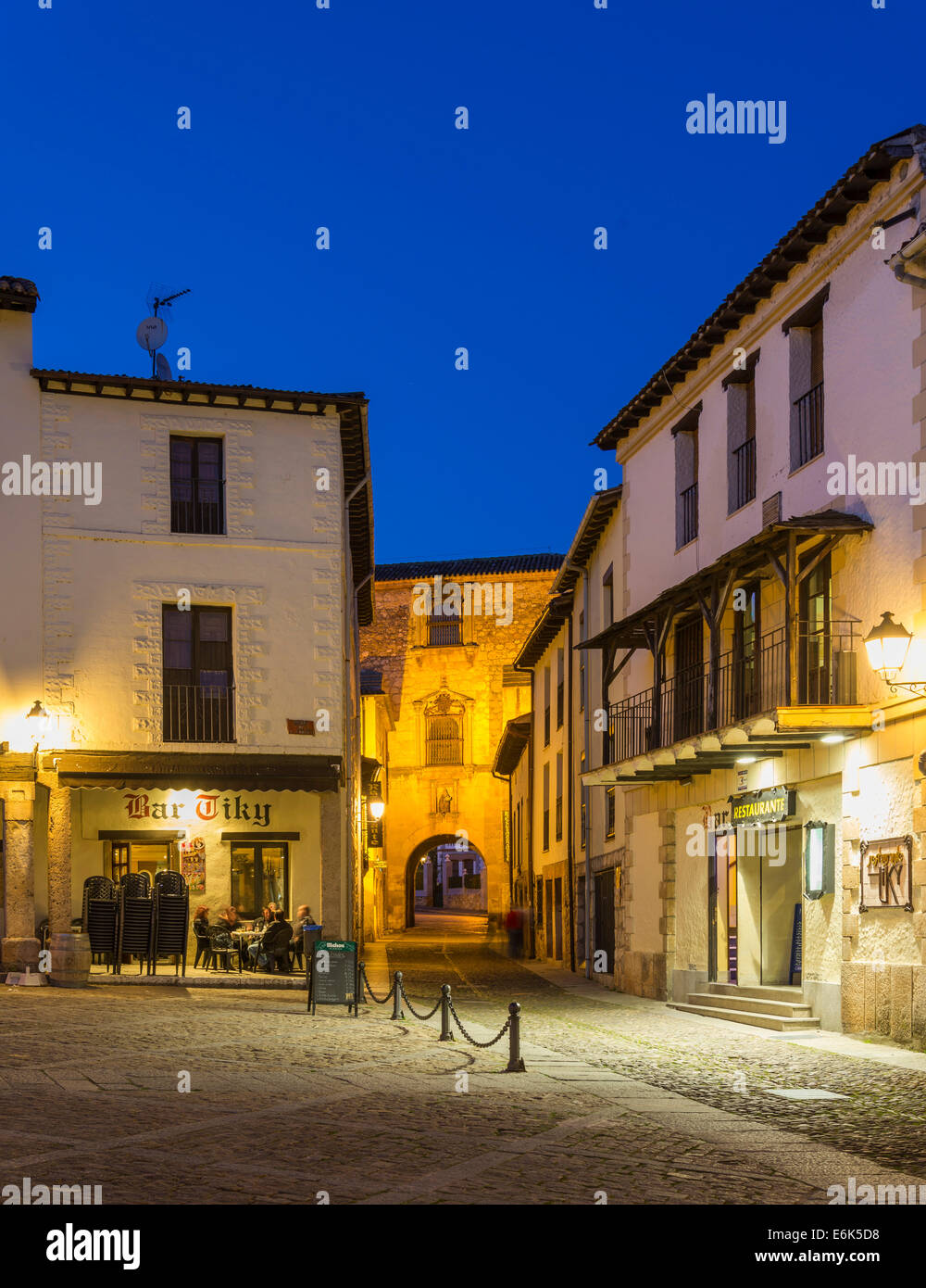 Main square at night, Covarrubias, Castile and León, Spain - Stock Image