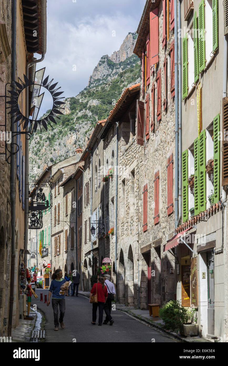 Alley in the old town, Villefranche-de-Conflent, Languedoc-Roussillon, France - Stock Image