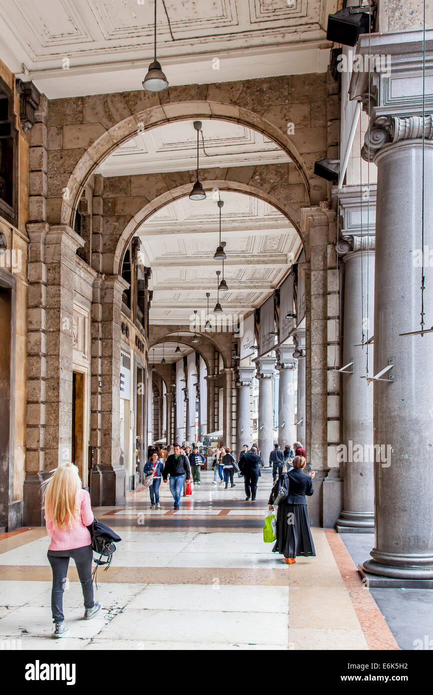 Arcades in the mall Corso Vittorio Emanuele, Milan, Lombardy, Italy - Stock Image