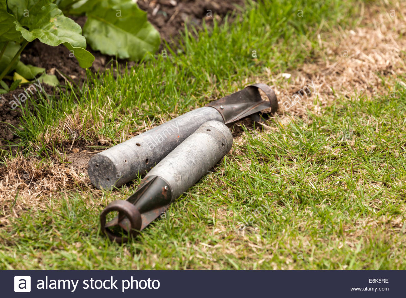 Incendiary Bombs displayed at a 1940s re-enactment event - Stock Image