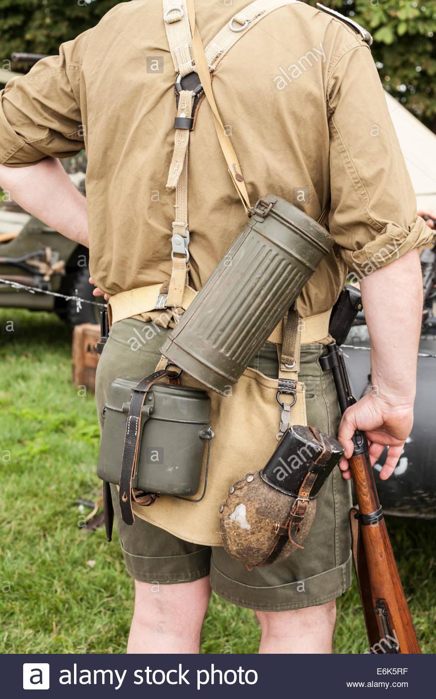 WW2 Re-enactor.  German Soldier Uniform Afrika Korps - Stock Image
