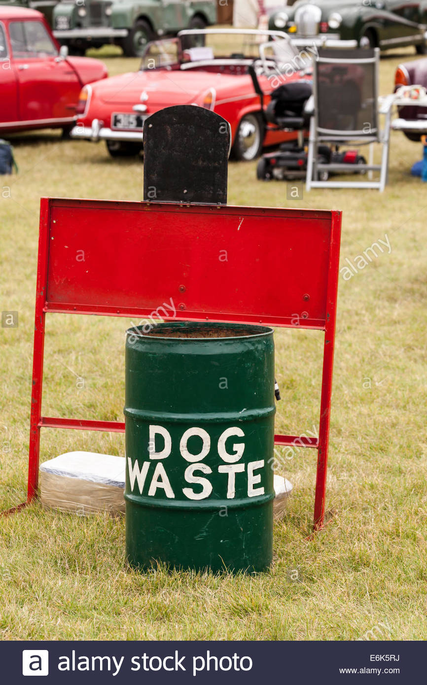 Dog Waste Bin at a public event - Stock Image