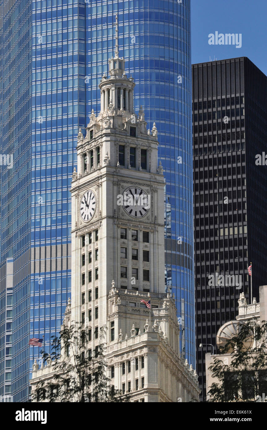 Clock tower of the Wrigley Buildingin the glass facade of Trump International Hotel and Tower, Chicago, Illinois, - Stock Image