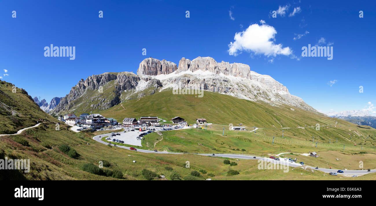 Summit of Pordoi Pass, Sella group, Dolomites, Trentino province, Belluno province, Italy - Stock Image