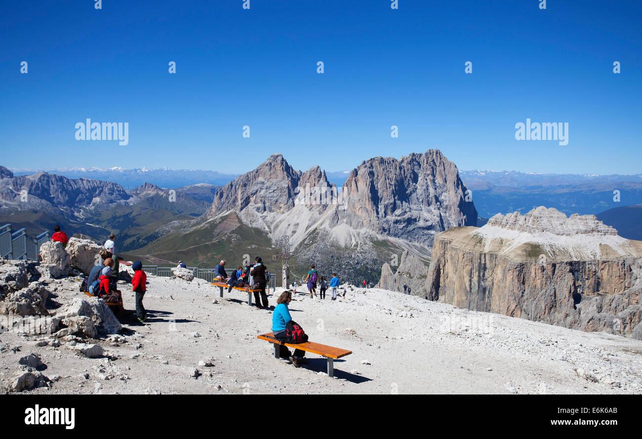 Sass Pordoi Mountain, Pordoi Pass, Langkofel Group, centre, Dolomites, Belluno province, Italy - Stock Image