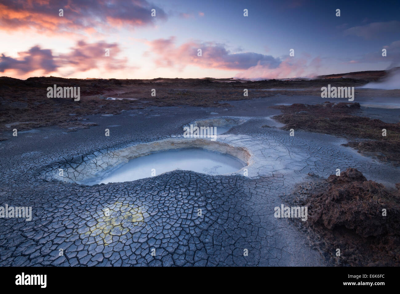 Hot springs in the high temperature geothermal area of Gunnuhver, Reykjanesskagi, Iceland - Stock Image