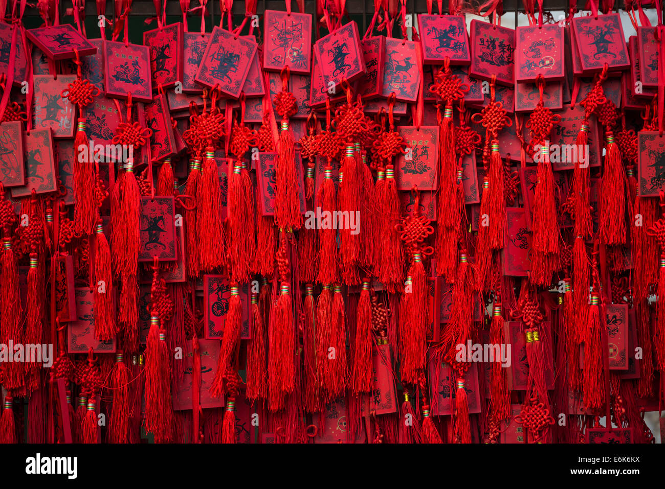 Red Chinese wishing cards, Beijing, China - Stock Image