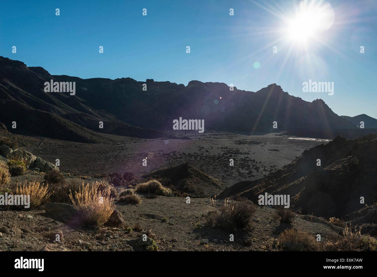 Volcanic landscape, Llano de Uruanca, plateau, Parque Nacional de las Cañadas del Teide, Teide National Park - Stock Image