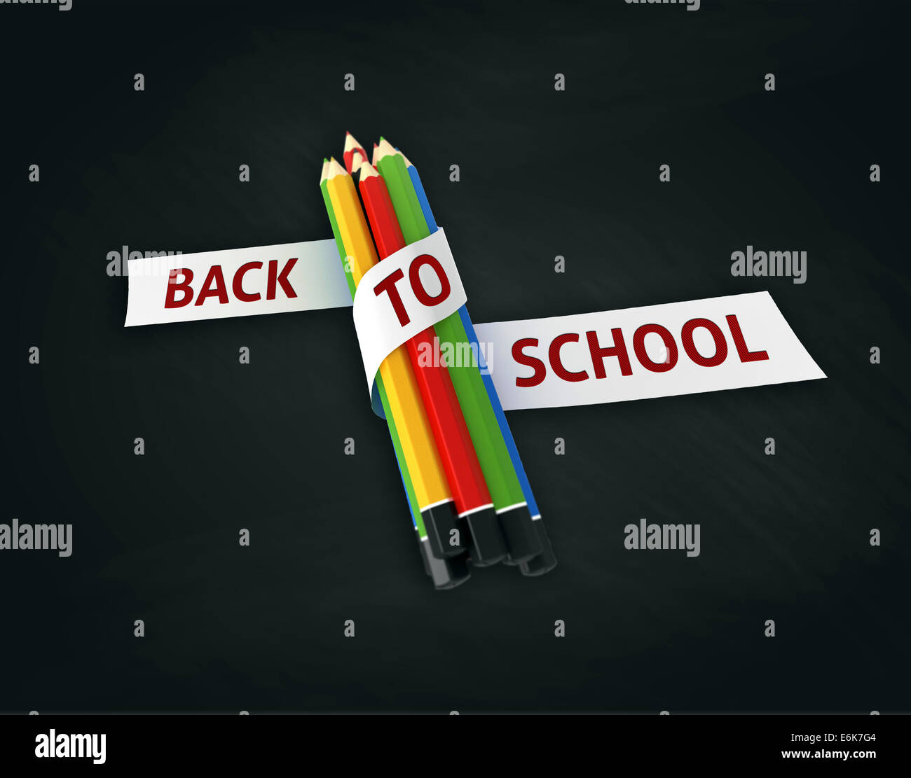 Welcome Back To School Quote Embroidered On White Ribbon On Colorful  Crayons   Illustration Concept On Blackboard Background