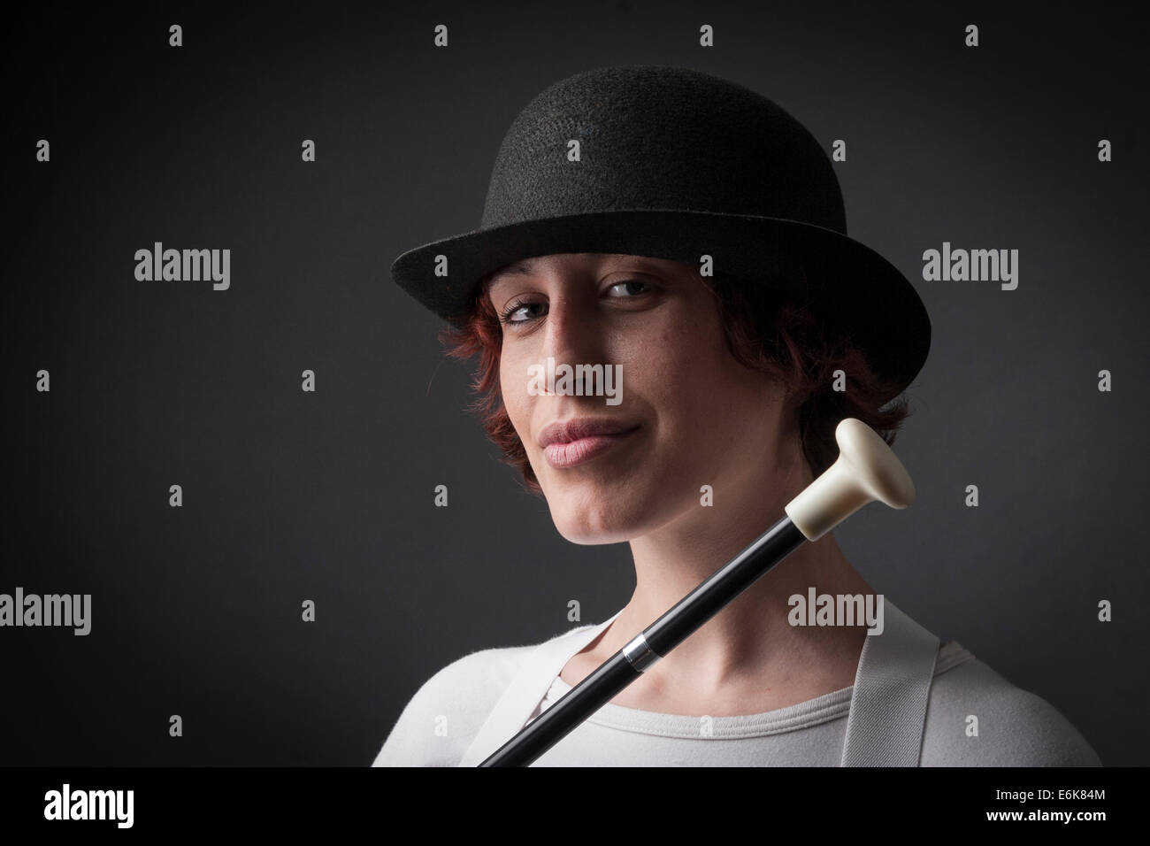 woman with bowler hat and cane Stock Photo  72952900 - Alamy 67ef74f5ab17