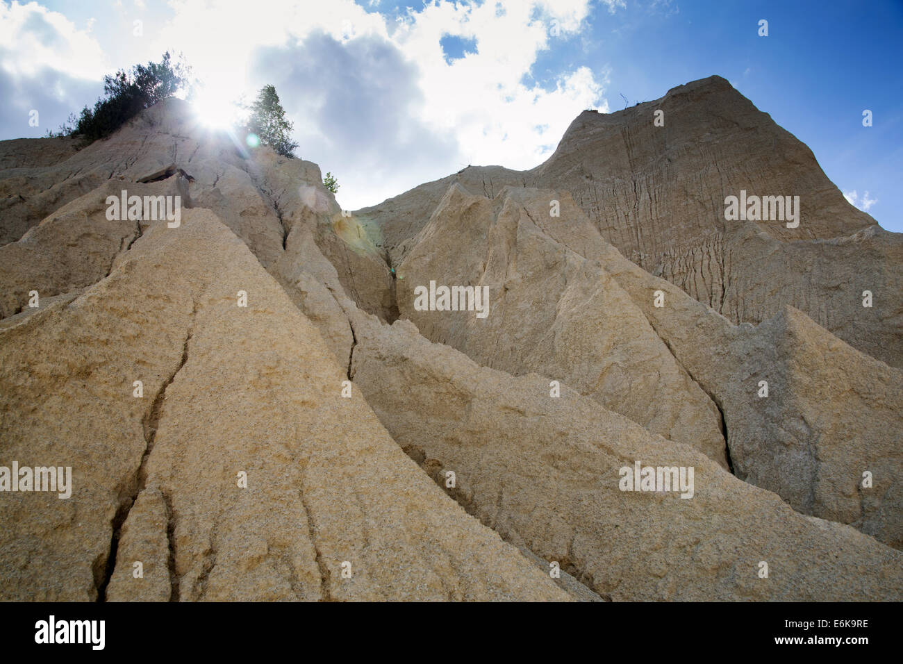 Sand mountains as result of open cast mining - Stock Image