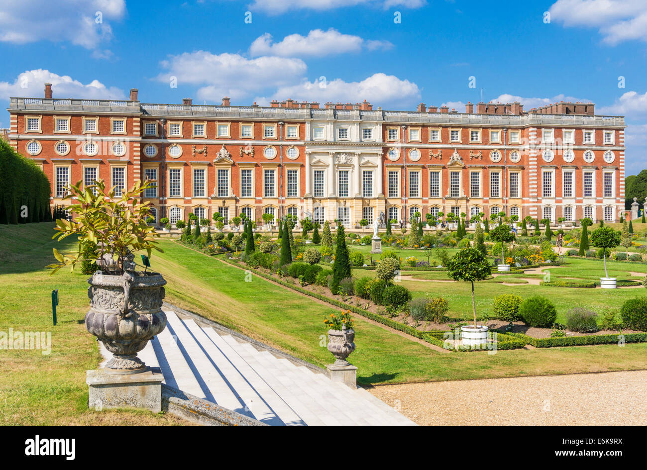 Hampton Court Palace South Front and Privy Garden London England UK GB EU Europe - Stock Image