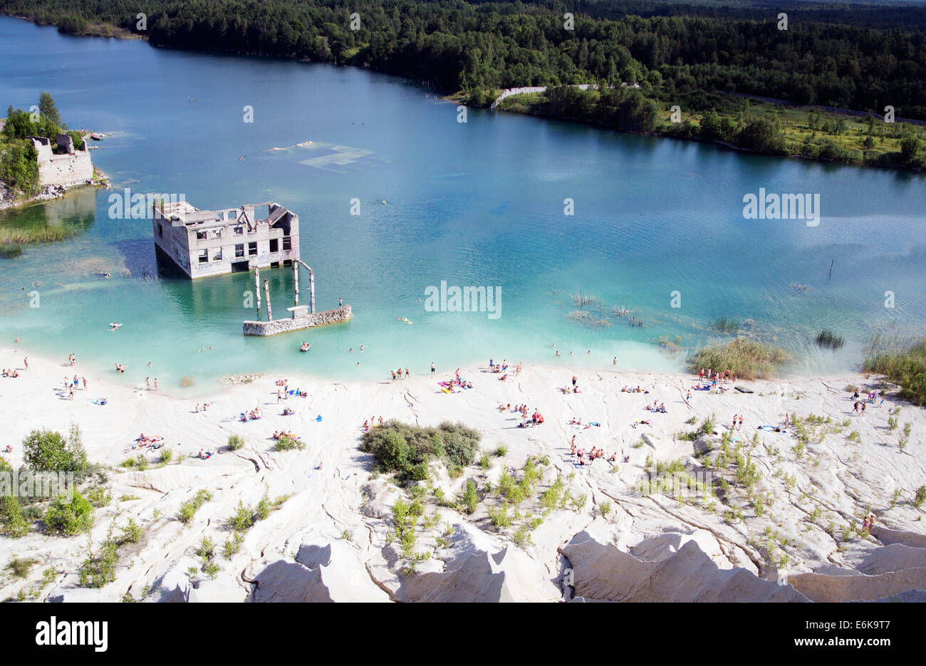 Abandoned open cast mine as popular swimming place - Stock Image